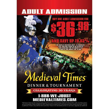 Medieval Times Gift Card - Buena Park, CA - 1 Adult Dinner & Tournament