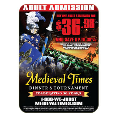 Medieval Times Gift Card - Chicago, IL - 1/Adult Dinner & Tournament
