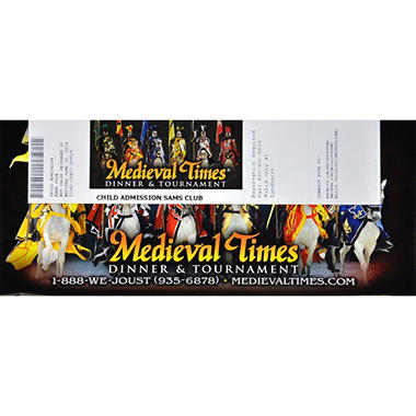 Medieval Times Gift Card - Lyndhurst, NJ - 1 Child Dinner & Tournament