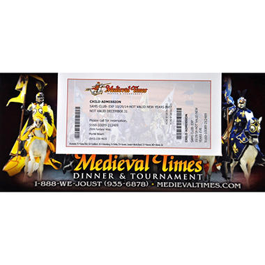 Medieval Times Gift Card - Myrtle Beach, SC - 1 Child Dinner & Tournament