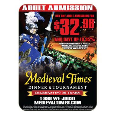 Medieval Times Gift Card - Myrtle Beach, SC - 1 Adult Dinner & Tournament