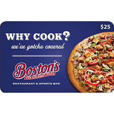 Boston's the Gourmet Pizza Restaurant and Sports Bar $50 Multi-Pack - 2/$25 Gift Cards for $36.48