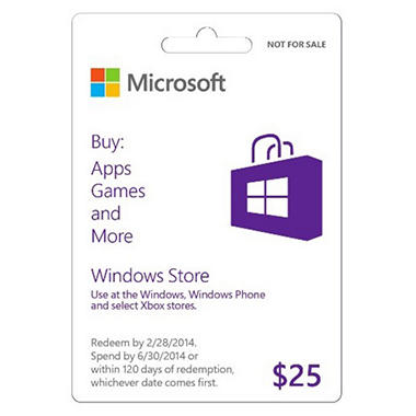 Windows Store Promotional Gift Card - $25