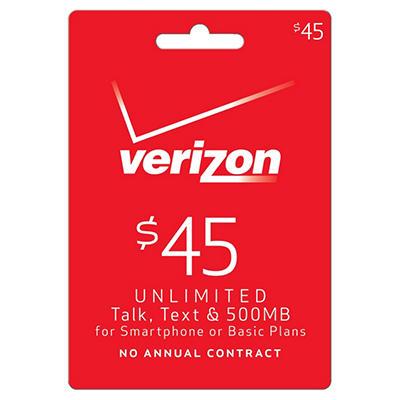 Verizon Wireless Refill Prepaid Airtime - $45