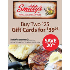 Smitty's Pancake and Steakhouse $50 Gift Card, 2/$25