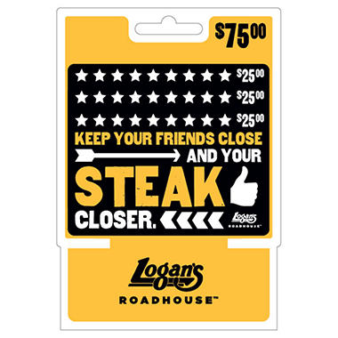 Logan's Roadhouse $75 Multi-Pack -  3/$25 Gift Cards