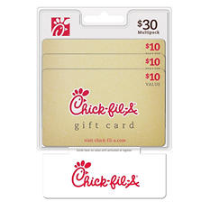 Chick-fil-A $30 Multi-Pack - 3/$10 Gift Cards
