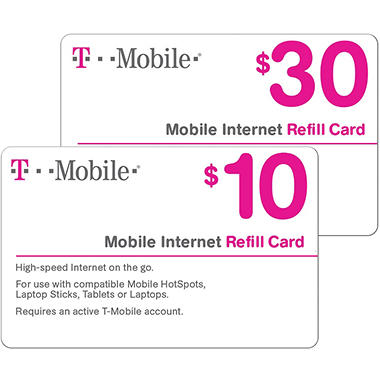 T mobile prepaid mobile internet on demand pass egift card for T mobile refill