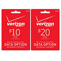 Verizon Wireless Data Card - Various Amounts