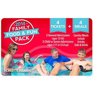 Schlitterbahn 2014 Family Day Pass with 4 Combo Meals