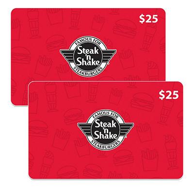 Steak N Shake $50 Gift Card - 2/$25 for $39.98