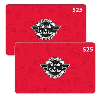 Steak N Shake $50 Gift Card - 2/$25 for $39.98