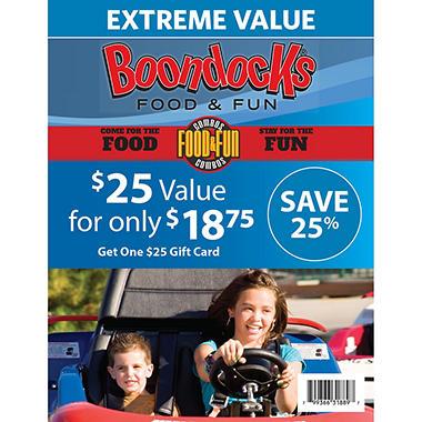 Boondocks Food and Fun $25 Gift Card