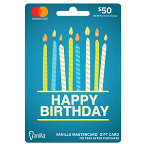 Vanilla MasterCard Happy Birthday Gift Card - $50