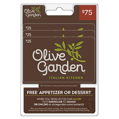 Olive garden 75 gift card 3 25 sam 39 s club for Olive garden com join
