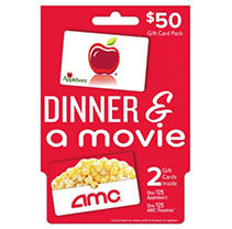 Two gift cards, one perfect night. Give the gift of dinner and a movie with this 2-pack of gift cards. Included is one $25 Applebee's gift card (valid at over 1,900 Applebee's locations in 49 states) and one $25 AMC® gift card (valid at all AMC Theatres® locations). Terms and Conditions Usable up to balance only to buy goods or services at any AMC Theatres®, AMC Loews®, AMC Showplace, Cineplex® Odeon, Magic Johnson and Star theatres in the U.S. Not usable to purchase gift cards. Not redeemable for cash unless required by law. Not a credit or debit card. Safeguard the card. It will not be replaced or replenished if used without authorization. If lost or stolen, replacement card with remaining value requires original proof