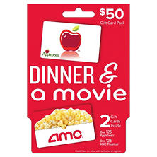 Dinner and a Movie $50 Multi-Pack - $25 AMC & $25 Applebee's Gift Card