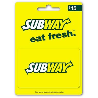 Subway Gift Card - $15