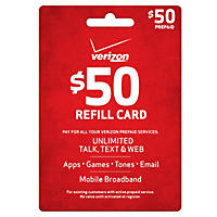 Verizon Wireless Refill Prepaid Airtime - $50