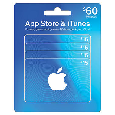 *$49.88 after $6 Instant Savings* Apple iTunes $60 Multi-Pack - 4/$15 Gift Cards
