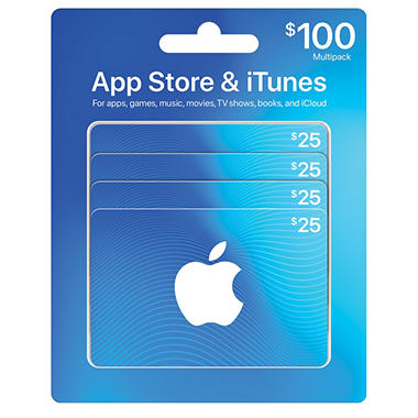 Apple iTunes $100 Multi-Pack - 4/$25 Gift Cards