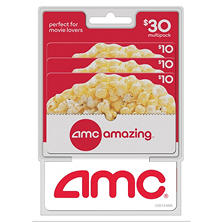 AMC Theatres $30 Multi-Pack - 3/$10 Gift Cards
