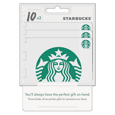 Starbucks $30 Multi-Pack - 3/$10 Gift Cards