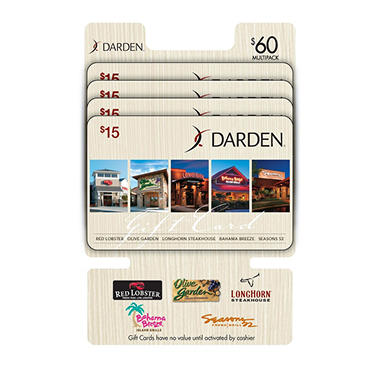 Red Lobster, Olive Garden, Longhorn Steakhouse, Seasons 52, and Bahama Breeze $60 Multi-Pack - 4/$15 Gift Cards