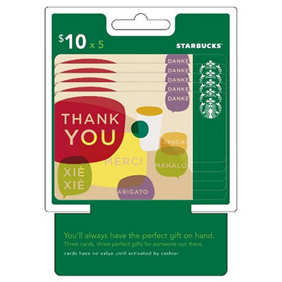 Starbucks $50 Multi-Pack - 5/$10 Thank You Gift Cards