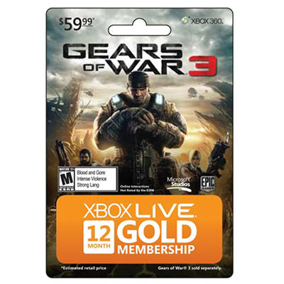 Xbox Live Gears of War 3 - 12 Month Card - Xbox 360