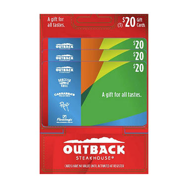 Outback Steakhouse $60 Multi-Pack - 3/$20 Gift Cards