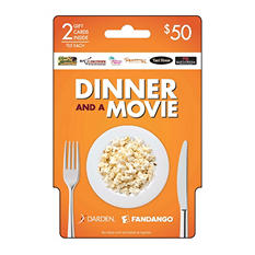 Darden and Fandango Dinner and a Movie $50 - 2/$25 Gift Cards