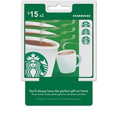 Starbucks $45 Multi-Pack - 3/$15 Gift Cards