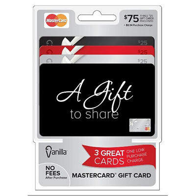Vanilla MasterCard $75 Multi-Pack - 3/$25 Gift Cards