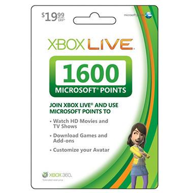 Xbox Live 1600 Point Card - Xbox 360