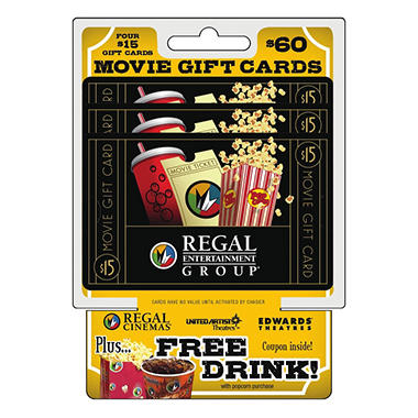 Regal Movie Theatres $60 Multi-Pack - 4/$15 Gift Cards
