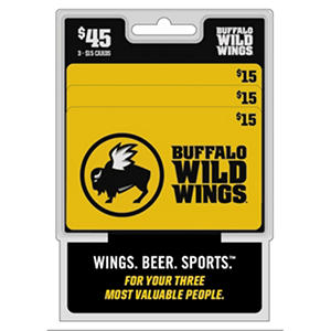 Buffalo Wild Wings $45 Multi-Pack - 3/$15 Gift Cards