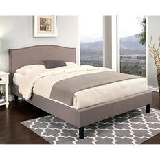 Parker Grey Linen Upholstered Queen Platform Bed
