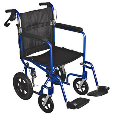 "Aluminum Transport Wheelchair with 12.5"" Wheels - Blue"