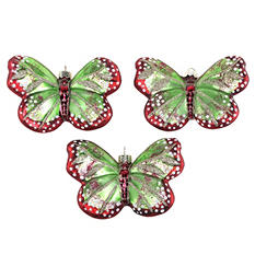Molded Glass Butterfly Design Ornaments (3 Pack)