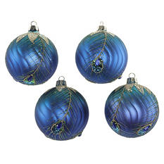 Mouth-Blown Decorated Glass Ornaments - Peacock Design (4 Pack)