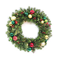 "DF Design Collection 30"" Pre-Lit LED Christmas Classic Wreath - Battery Operated"