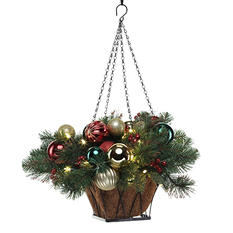 """24"""" Pre-Lit LED Classic Christmas Basket - Battery Operated"""