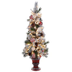 4.5 ft Pre-lit and Decorated Snowy Peppermint Tree