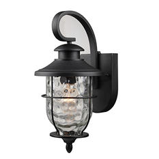 Hardware House Lantern with Dusk-to-Dawn Light Control (Textured Black)