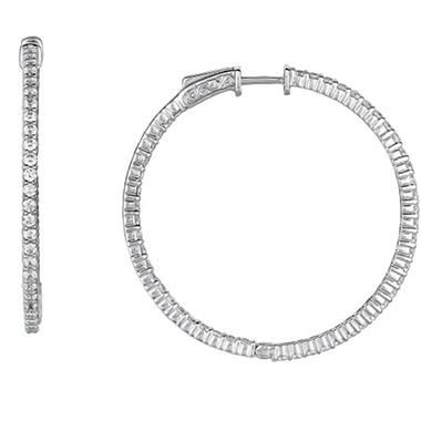 2.96 ct. t.w. Inside-Out Diamond Hoop Earrings  (H, I1)