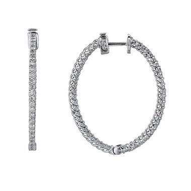 3.45 ct. t.w. Inside-Out Diamond Oval Hoop Earrings (H, I1)