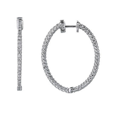 3.45 ct. t.w. Inside-Out Diamond Oval Hoop Earrings (H, I1)