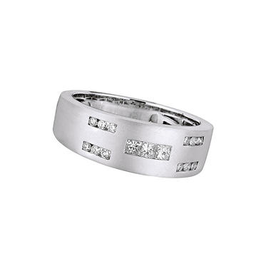 0.46 ct. t.w. Square & Round Cut Diamond Men's Band in 14K White Gold (H, I1)