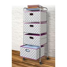 Bintopia 4-Drawer Decorative Fabric Cart